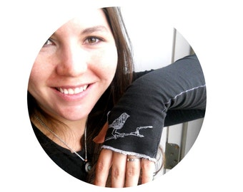 Fingerless Gloves, Little bird on branch Arm Warmers in black or custom colors, great stocking stuffer