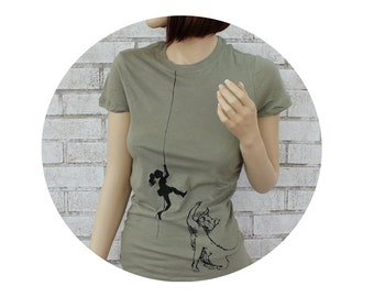 Cat Batting at Climber Tshirt, Ladies Cotton Crewneck Climbing T Shirt, Kitten, Kitty,  Light Olive Drab, Hand Printed, Funny Clothing