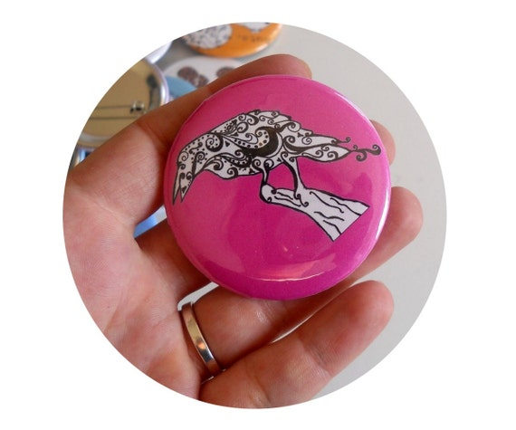 Raven Button with Hot pink background or custom colors, Black Bird, Pinback Button, Flair, Badge, Blackbird, Crow, Accessory, Party Favor