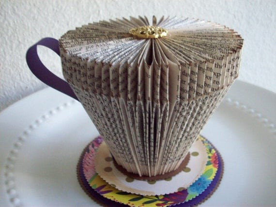 Folded Book Paper tea Cup tea party altered arttea by ...