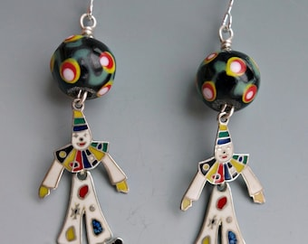 Vintage Enamel Sterling Clown Earrings
