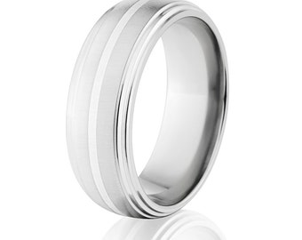 New Comfort Fit, 8mm Titanium Ring, Sterling Silver Inlay, Free Jewelry Sizing 4-17: 8HR2S11GXB-SSINLAY