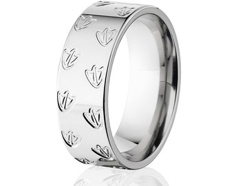Duck Track Band, Cobalt Ring, Animal Tracks, Wedding Rings Bands: CB-Duck_Track_8F