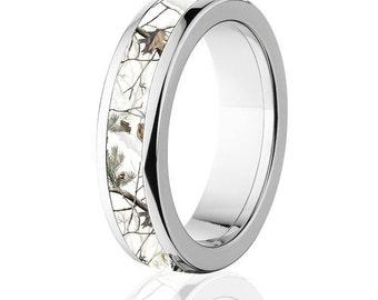 Licensed RealTree AP White Camouflage Titanium Ring, Snow Camo Ring: 6HR-RT-Snow