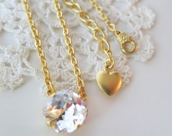 Clear Crystal Necklace,Crystal Bridal Jewelry,Made with Swarovski® crystal,matte Gold necklace,Crystal clear Bridal Jewelry,Gift to Her