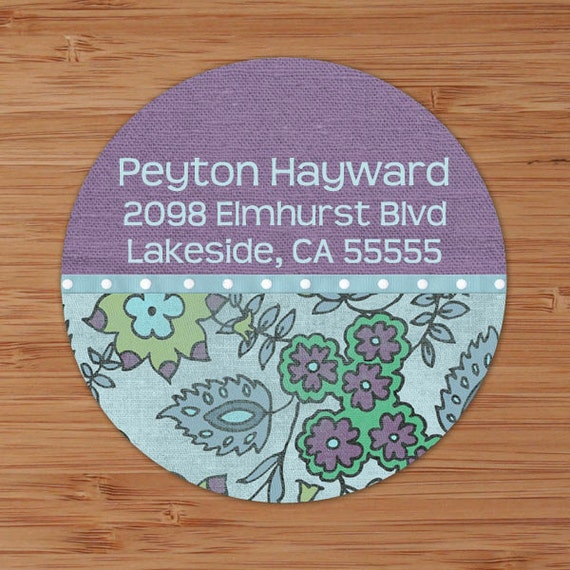 Faded Blue & Purple Floral - Custom Address Labels or Stickers