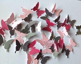 Beautiful Paper Butterflies 125 pc Pinks Silver Wedding Decorations