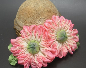 Double Pink and Cream Zinnia Flower Applique