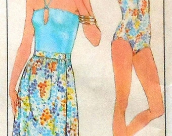 Vintage  Swimsuit and Wrap Skirt Sewing Pattern UNCUT Simplicity 8530 Sizes 12-16