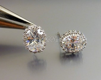 2 scalloped oval center CZ stone earrings, 11mm x 9mm large oval faceted Cubic Zirconia earrings 2071-BR