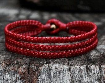 3 Line Dark Red Cord Bracelet