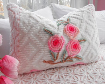 SWEETEST PINK ROSES Vintage Chenille And Minky Fabric Pillow Sham