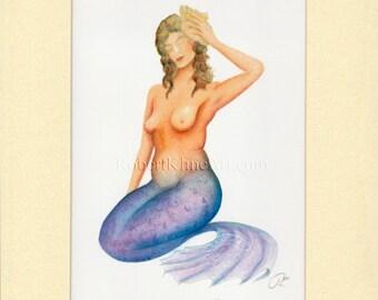"Mermaid Kate w/ Sea Shell Art Signed Robert Kline Matted 8"" x 10"" Print Nautical Gift Beach House Cottage Chic Bathroom Boat Home Wall Decor"
