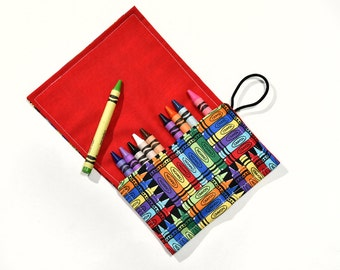 Kids Birthday Party Favor Kids Gift Crayon Roll Up Crayon Holder, Children Party Favors, Kids Travel Toy Rollup, Crayon Wrap