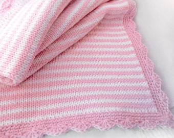 Knitted Baby Blanket in thin stripes of pink and white with scalloped border / girl baby blanket / Pantone 2016 color nursery