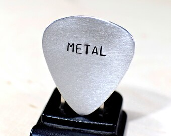 Metal Guitar Pick Handmade from Aluminum for Playing Extra Loud and Heavy - GP303