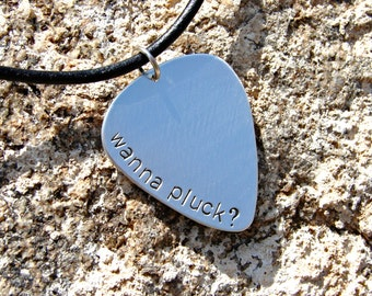 funny sterling silver guitar pick necklace - solid 925 GP832