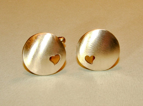 Cuff links handmade from bronze with heart cut outs for love, 8th anniversaries, and endless custom engraving options - CL626