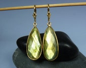 Huge Super Flashy Faceted Labradorite Earrings, LARGE Labradorite Earrings, Glowing Gold and Green Flash, Gold Bezels & Leverback Ear Wires