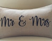 Mr and Mrs burlap (hessian) pillow cover hessian cushion cover wedding present black letters