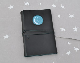 Black Leather Journal - The Moon and Stars Journal