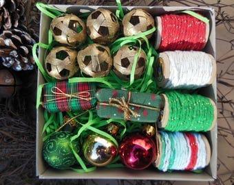 Christmas Gift Wrap Kit--Wrapping Fiber Yarn and Gift Embellishments (Kit #7)