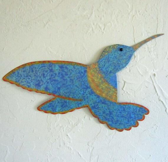 Metal Garden Art Hummingbird Sculpture Indoor Outdoor Wall or