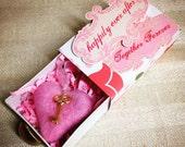 Valentine heart keepsake, Pink felted heart in slide box, key to my heart keepsake