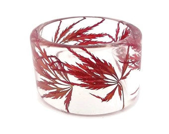Size Medium Japanese Maple Resin Bracelet.    Lace Leaf Japanese Maple Leaves. Engraved Gift Resin Jewelry.  Real Flowers Resin Bangle