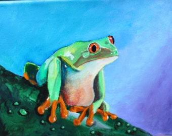 "Red Eye Tree Frog -- Acrylic on Canvas -- 10""X 8"""