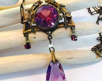 CIJ Christmas July SALE Beautiful Art Nouveau Art Deco Vintage Necklace