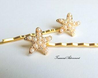 Starfish Hair pins, Starfish Bobby pins - a pair, White Pearl Starfish, Gold Hair pin, Wedding, Beach Wedding, Bridal Hair Accessories