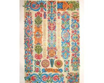 1873 renaissance ornamental decoration original antique print