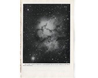 1946 TRIFID NEBULA in SAGITTARIUS lithograph - original vintage print - celestial astronomy -