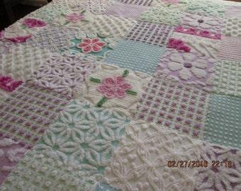 Springtime -  Lavender, Aqua and White Vintage Chenille Baby / Toddler  Quilt - Custom boutique quality handmade vintage chenille baby quilt