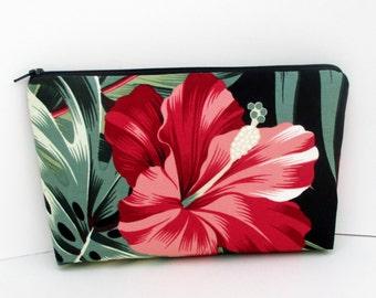 Make-up Bag, Cosmetic Zipper Pouch, Retro Red Hawaiian Hibiscus