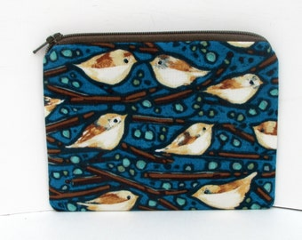 Small Zipper Pouch, Coin Purse, Birds of a Feather