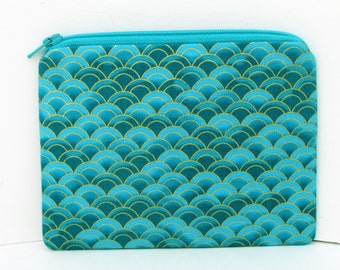 Small Zipper Pouch, Teal Green Mermaid Scales, Scallop Coin Purse