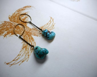 The Arrowroot Earrings. Genuine American Turquoise and rustic brass bar earrings (pair No. 2)