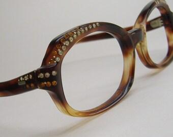 Vintage 60s Tortoise Cateye Eyeglasses Eyewear With Rhinestones Frame France