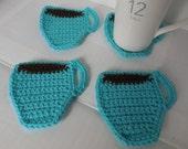 Aqua Coffee Cup Coasters / Set of 4 / Crochet Coffee Cup Coasters