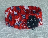 "Patriotic Stars on Red Dog Scrunchie Collar with blue star flower - Size XL: 18"" to 20"" neck"