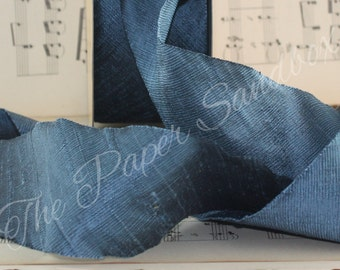 """Atlantic Blue Dupioni Silk Ribbon, 2"""" wide by the yard, Weddings, Bridal Sashes, Bridal Bouquets, Gift Wrapping, Party Supplies, Raw Silk"""