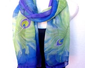 "Hand Painted Silk Scarf, Peacock Feathers, Medium Blue Pastel Lime Green Purple,  71"" Long Scarf,  Silk Chiffon Scarf, Gift For Her"