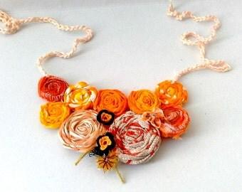Fabric flower necklace Handmade Rosette Bib Necklace, Autumn colors wedding necklace, orange textile  jewelry