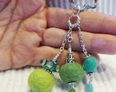 Lampwork beads, Keys, Scissors, Zipper Pull, Fob, Silver Hill Tribe beads, Valentines Day, Key Ring, felt, aqua, green, pandora