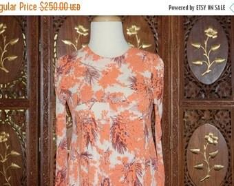 ON SALE Vintage 1970s Diane Von Furstenburg Orange Floral Jersey Knit Maxi Dress