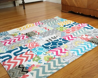 Large Playful Patchwork Playmat. Double Padded Baby Floor Mat. Ready to Ship