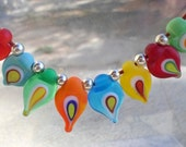 Lampwork Necklace, Handmade Jewelry, Glass Evil Eye Necklace, Matte Frosted Glass Beads, Colorful Etched Glass Lampwork Jewelry gift for Mom