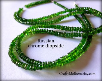 """WOW! Russian Green CHROME DIOPSIDE Faceted Rondelles, 3.9-4mm, 2"""" strand, luxe natural gemstone beads, rare stones, unique jewelry supplies"""